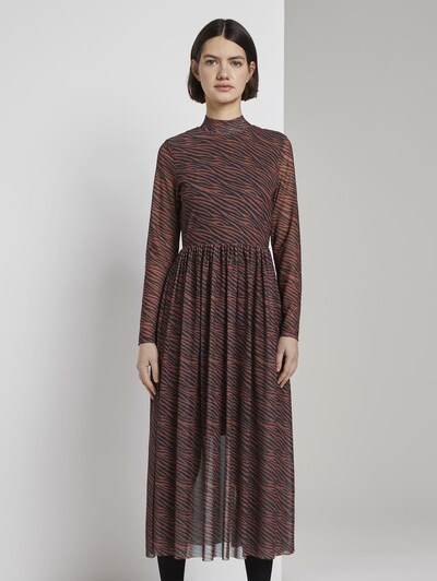 TOM TAILOR DENIM Kleid in dunkelbraun / schwarz, Modelansicht