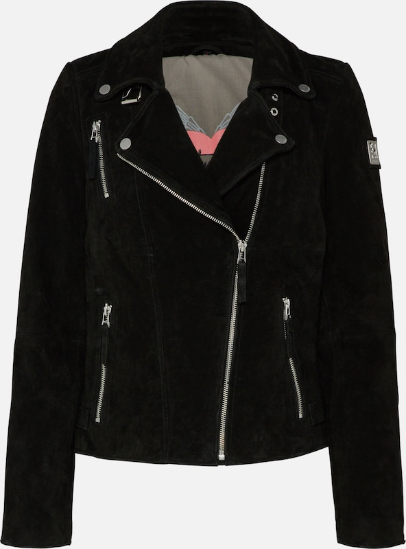 FREAKY NATION Velourlederjacke 'Bikerprincess' in schwarz: Frontalansicht