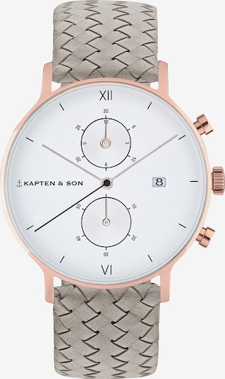 Kapten & Son Uhr 'Small Chrono Woven' in grau, Produktansicht