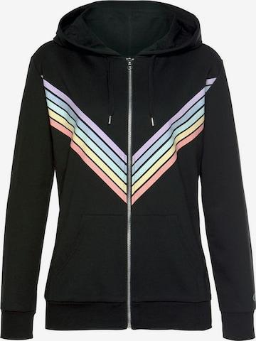 BUFFALO Sweatjacke 'Rainbow' in Schwarz