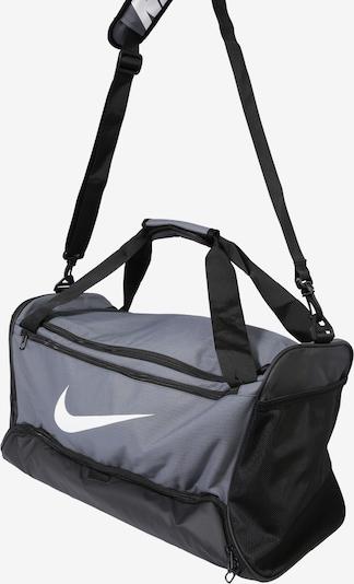NIKE Sac de sport 'BRSLA M DUFF - 9.0' en gris / noir / blanc: Vue de profil