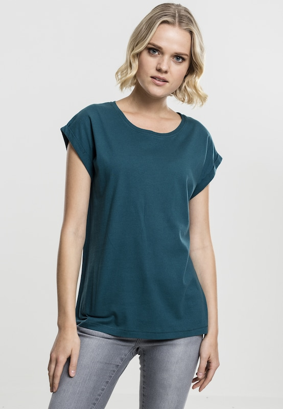 Urban Classics Curvy Shirt  'Ladies Extended Shoulder Tee' in petrol: Frontalansicht