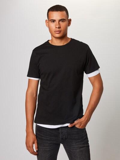 Urban Classics T-Shirt 'Full Double Layered Tee' en noir / blanc: Vue de face