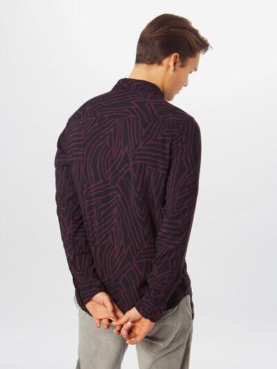 JACK & JONES Overhemd 'ARIZONA' in de kleur Wijnrood / Zwart: Achteraanzicht