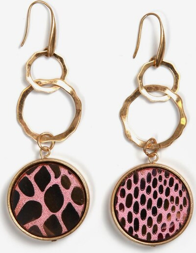 COLLEZIONE ALESSANDRO Ohrringe in braun / gold / rosa: Frontalansicht