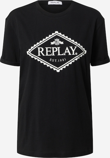REPLAY Shirt in de kleur Zwart / Wit, Productweergave