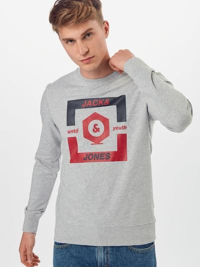JACK & JONES Sweat-shirt 'JCOSTRONG' en bleu / gris clair / rouge: Vue de face