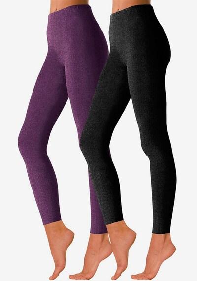 LAVANA Leggings in dunkellila / schwarz, Modelansicht