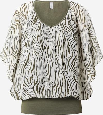 Soyaconcept Blusenshirt 'Danja 1' in dunkelgrün / weiß: Frontalansicht