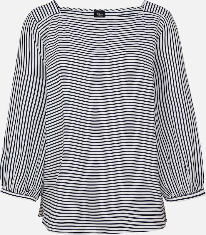 S.Oliver schwarz LABEL Blausenshirt in nachtblau   weiß  Neue Kleidung in dieser Saison