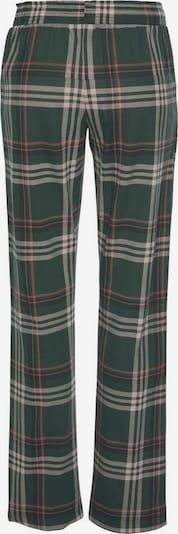 LASCANA Schlafhose in dunkelgrün / pink: Frontalansicht