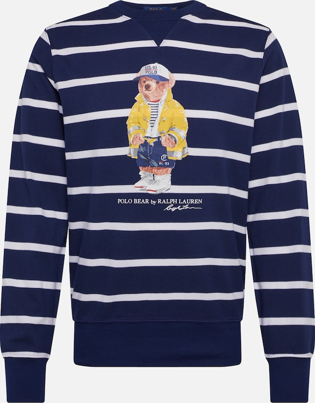 POLO RALPH LAUREN Sweatshirt  'YD LS CN M8-LONG SLEEVE-KNIT' in navy / weiß, Produktansicht