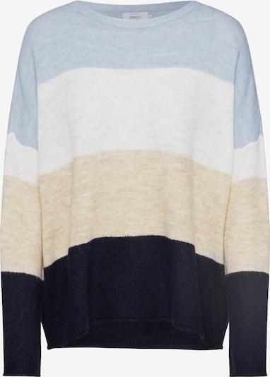 ONLY Sweter 'MIRNA' w kolorze beżowy / jasnoniebieski / białym: Widok z przodu