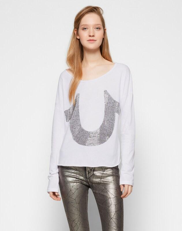 True Religion Shirt mit Glitzersteinen 'Horseshoe'