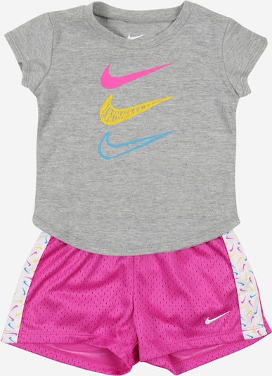 NIKE Trainings-Set in gelb / graumeliert / pink / weiß: Frontalansicht