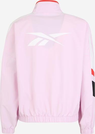 REEBOK Sportjas in de kleur Rosa / Rood / Zwart / Wit: Achteraanzicht