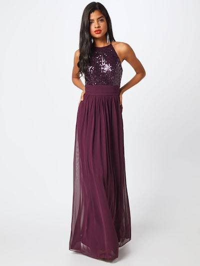 STAR NIGHT Abendkleid 'long dress (american cut) chiffon & sequins' in aubergine, Modelansicht