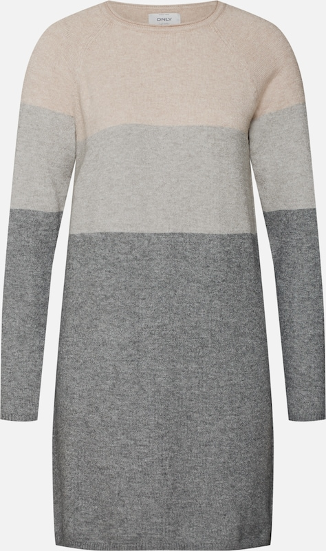 ONLY Kleid 'onlLILY L/S DRESS KNT NOOS' in grau / rosa, Produktansicht