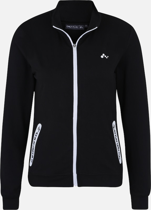 ONLY PLAY Sportief sweatshirt 'ONPORA ZIP SWEAT' in de kleur Zwart / Wit, Productweergave