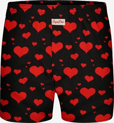 Sugar Pine Boxershorts 'Herzen' in rot / schwarz, Produktansicht