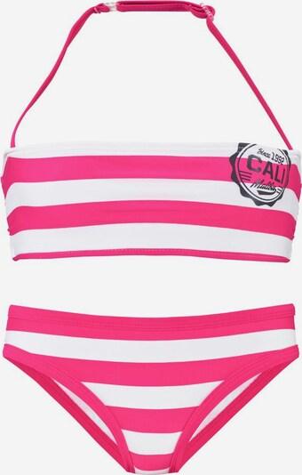 BENCH Bandeau-Bikini in pink / schwarz / weiß, Produktansicht