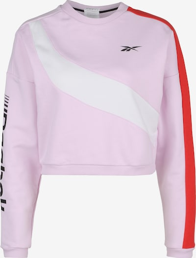 REEBOK Sweatshirt 'Workout Ready Meet You There' in rosa / rot / weiß, Produktansicht