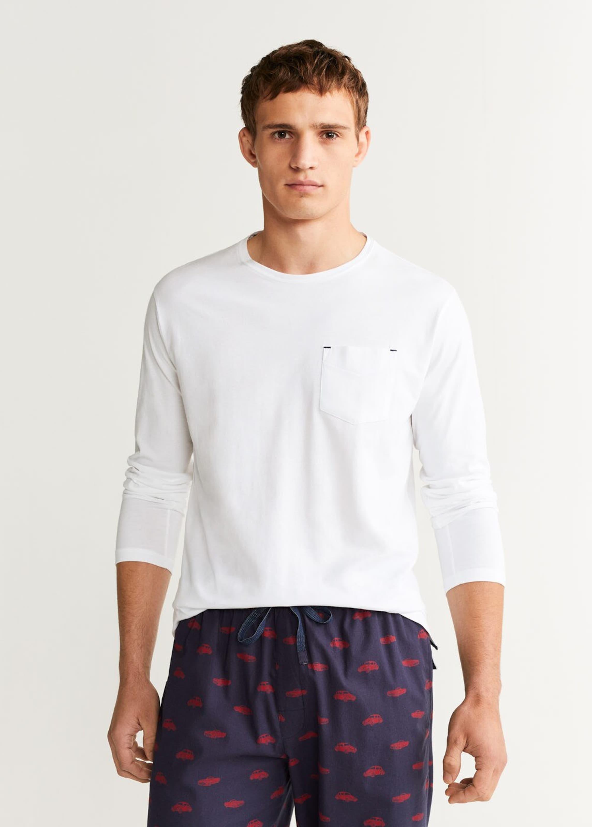 In Mango Pyjama 'picar' Man Weiß AubergineOrangerot PZXkuOi