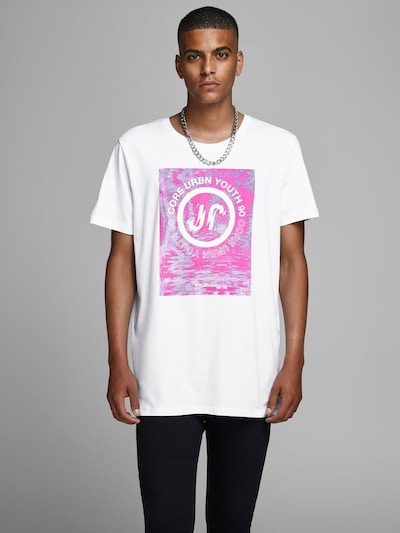 JACK & JONES Shirt in de kleur Fuchsia / Wit: Vooraanzicht