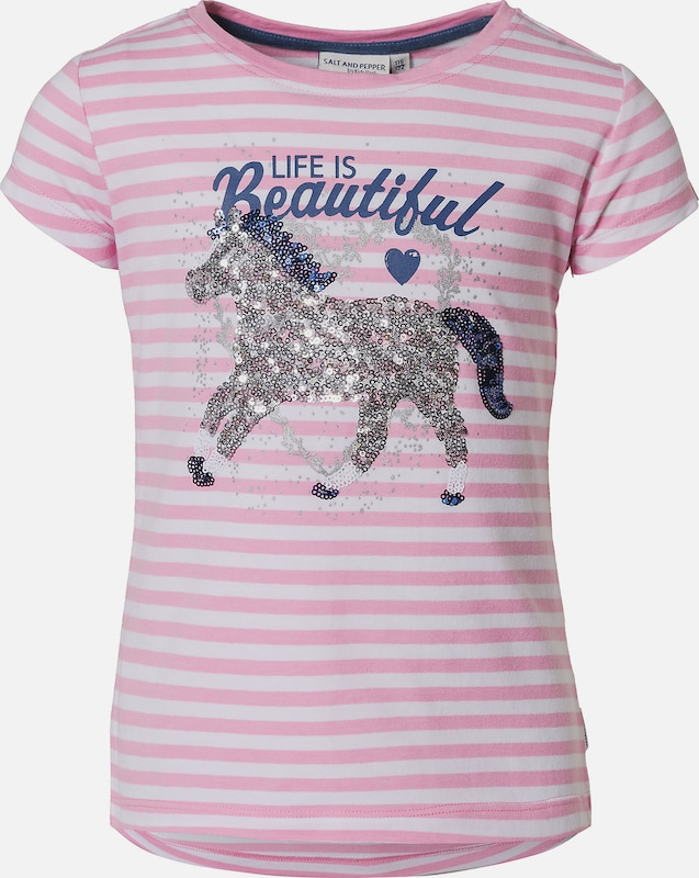 SALT AND PEPPER T-Shirt 'Pferd' in royalblau / rosa / silber: Frontalansicht