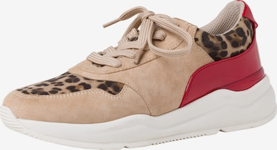 JANA Sneaker in hellbeige / braun / rot: Frontalansicht