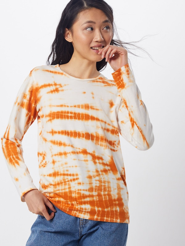 JUST FEMALE Shirt  'Annika' in orange / weiß: Frontalansicht