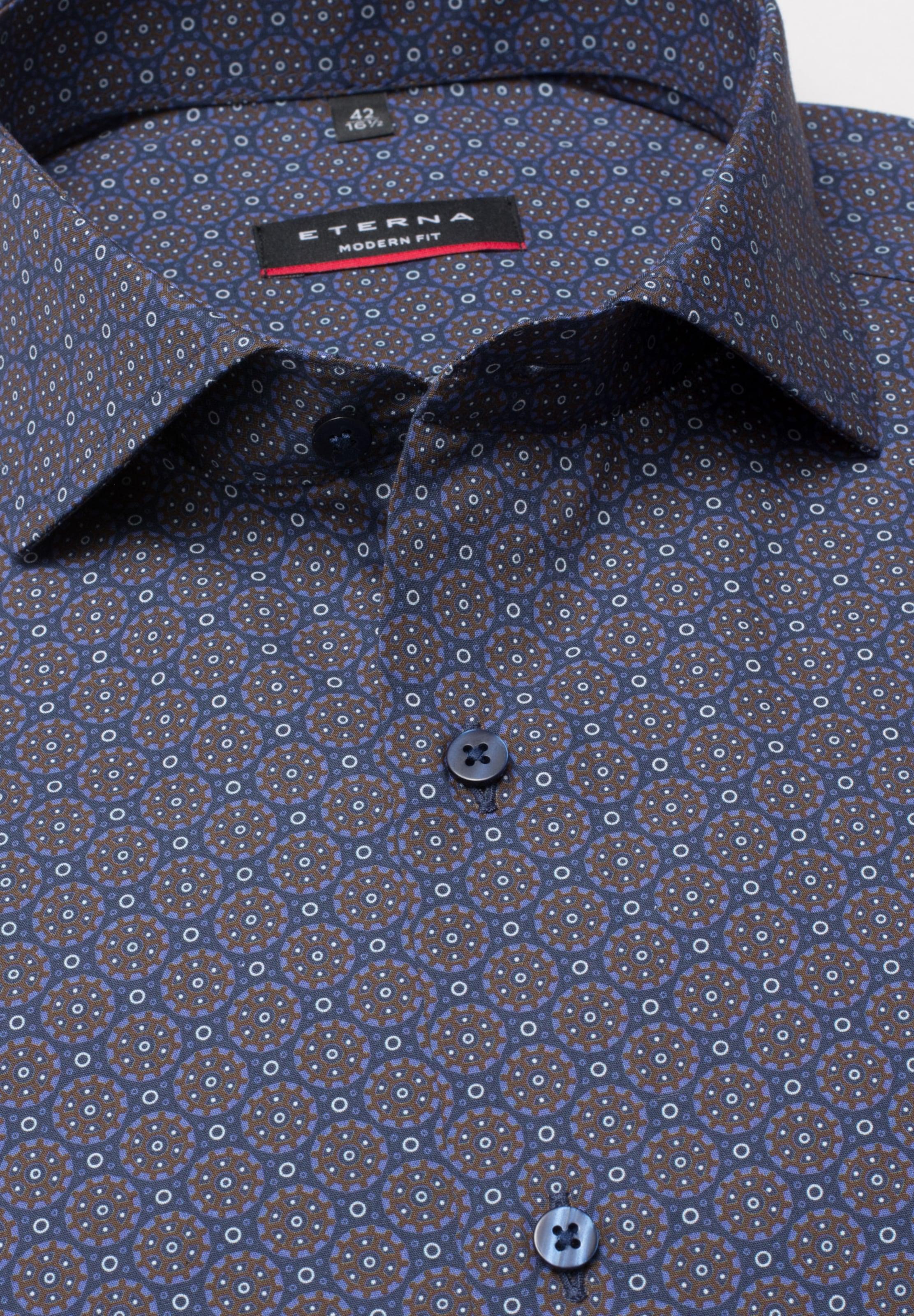 Eterna Hemd In Fit' NachtblauBraun 'modern BCthQxsrd