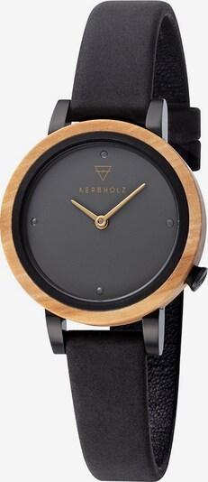 Kerbholz Uhr 'Luise Olive Midnight Black WATWLUI0036' in grau / schwarz, Produktansicht