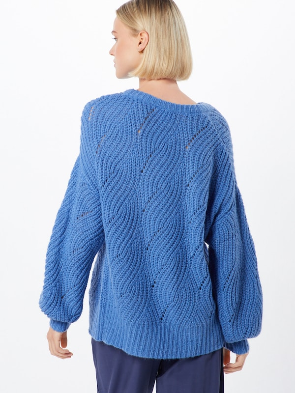 Native Youth Pullover  'THE ADELE WOOL KNIT' in blau: Rückansicht