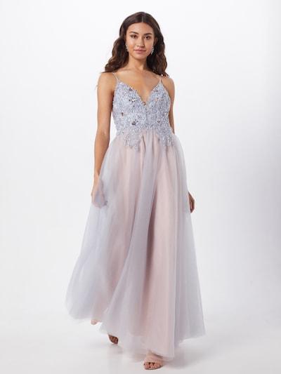 Unique Abendkleid in rauchgrau / rosé, Modelansicht