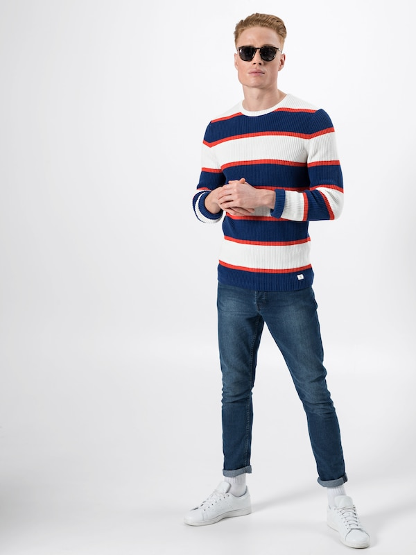 FoncéRouge Pull Denim Tom Bleu Tailor En Blanc over tsQdCxohBr