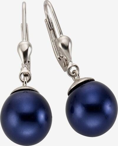 FIRETTI Paar Ohrhänger mit Muschelkernperlen in blau / silber, Produktansicht