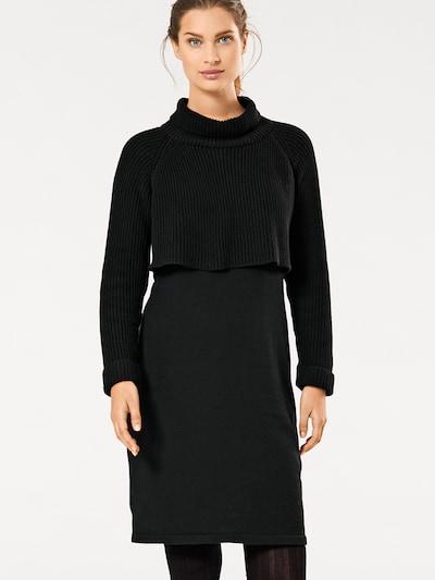 heine Strickkleid mit Strickmix in schwarz, Modelansicht