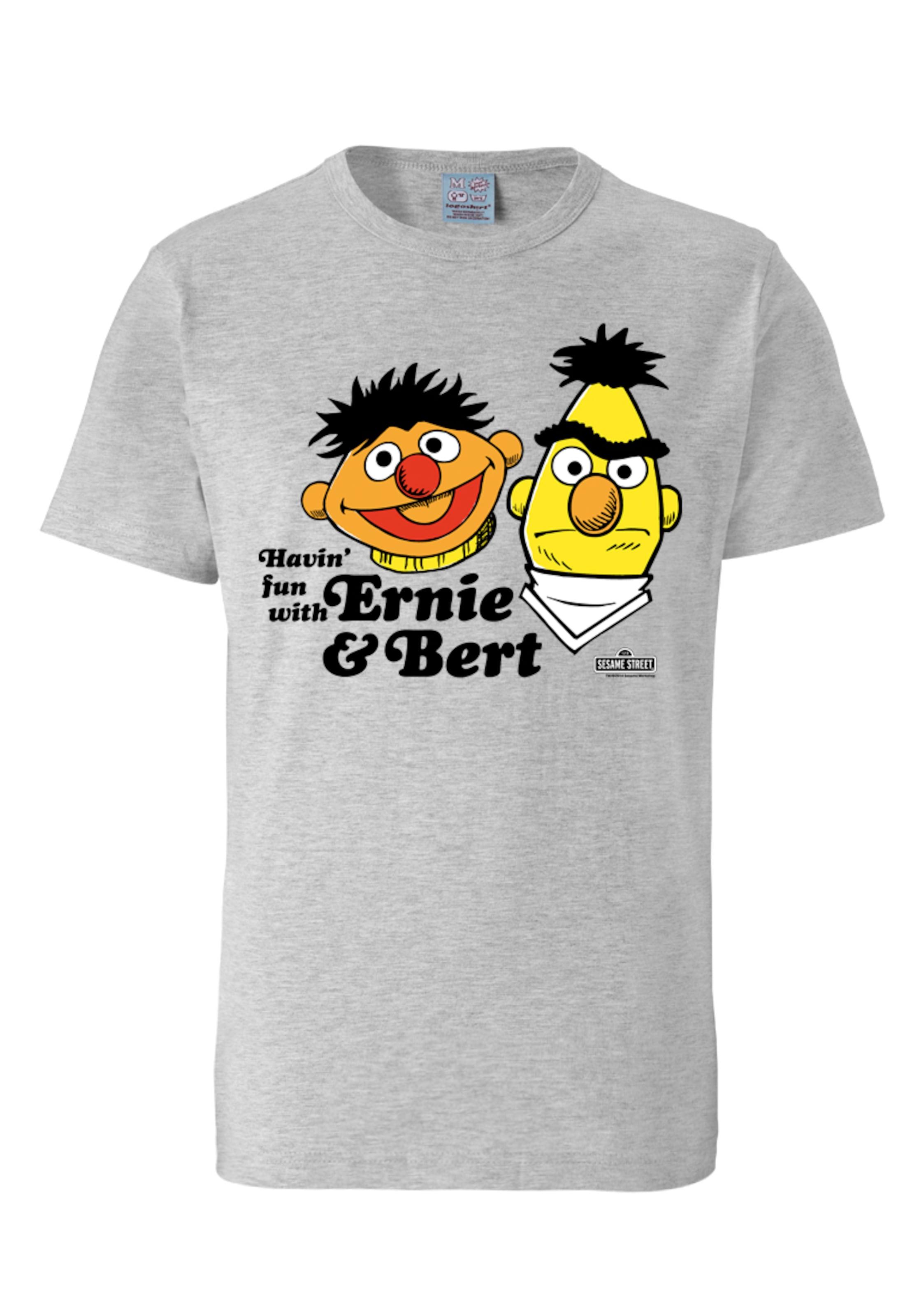 Ernieamp; In BertHavin`fun Grau Sesamstrasse Logoshirt T shirt Nnw0ZX8OPk