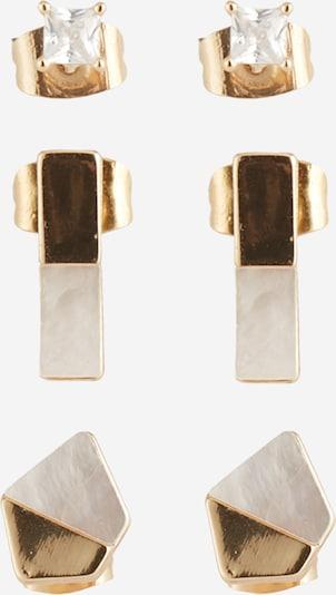 PIECES Ohrstecker 'PCMINNA EARSTUDS 3-PACK' in goldgelb / weiß, Produktansicht