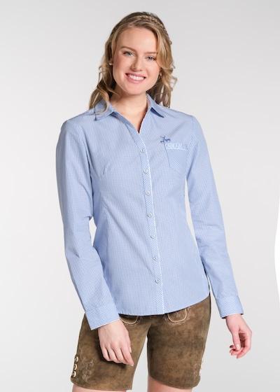 SPIETH & WENSKY Trachtenbluse 'Nest' in hellblau / weiß, Modelansicht
