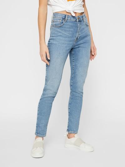 PIECES High Waist Slim Fit Jeans in blue denim, Modelansicht