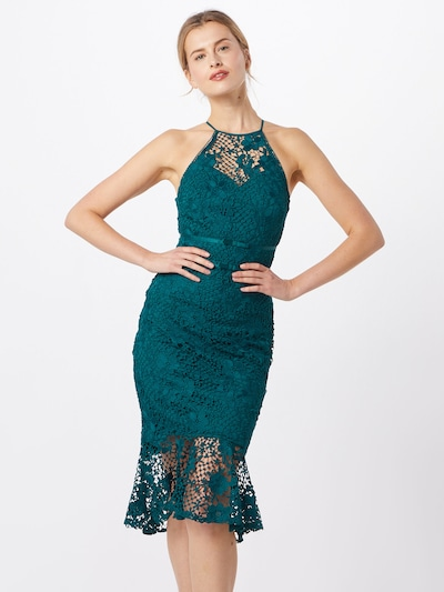 Lipsy Kleid 'DESCRIPTION: LACE HALTER FRILL' in petrol, Modelansicht