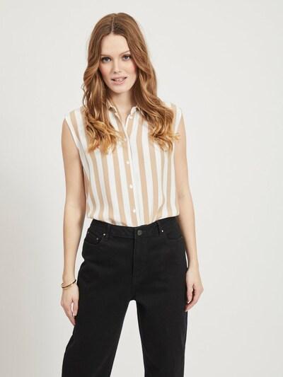 VILA Blouse 'SUSASSY' in de kleur Beige / Wit, Modelweergave