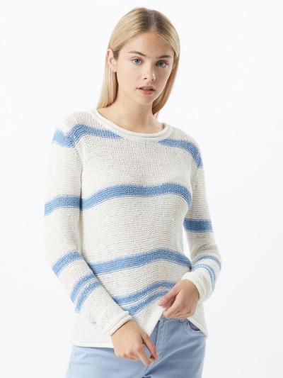 JACQUELINE de YONG Pullover 'Michelle' in blau / weiß: Frontalansicht