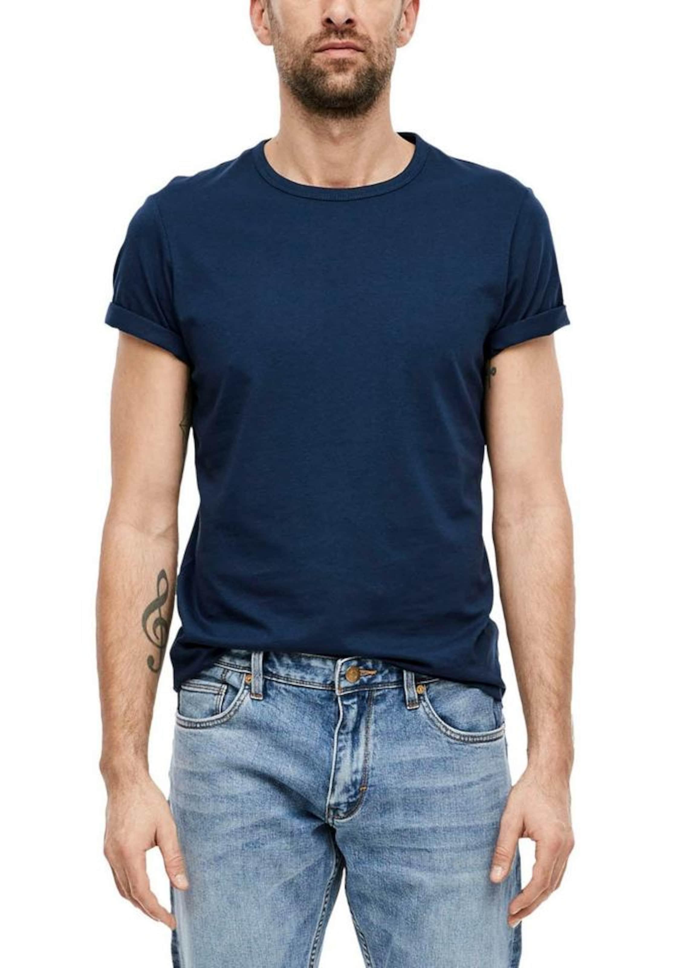 s.Oliver T-Shirt in dunkelblau Unifarben 03.899.32.5049.5865.L
