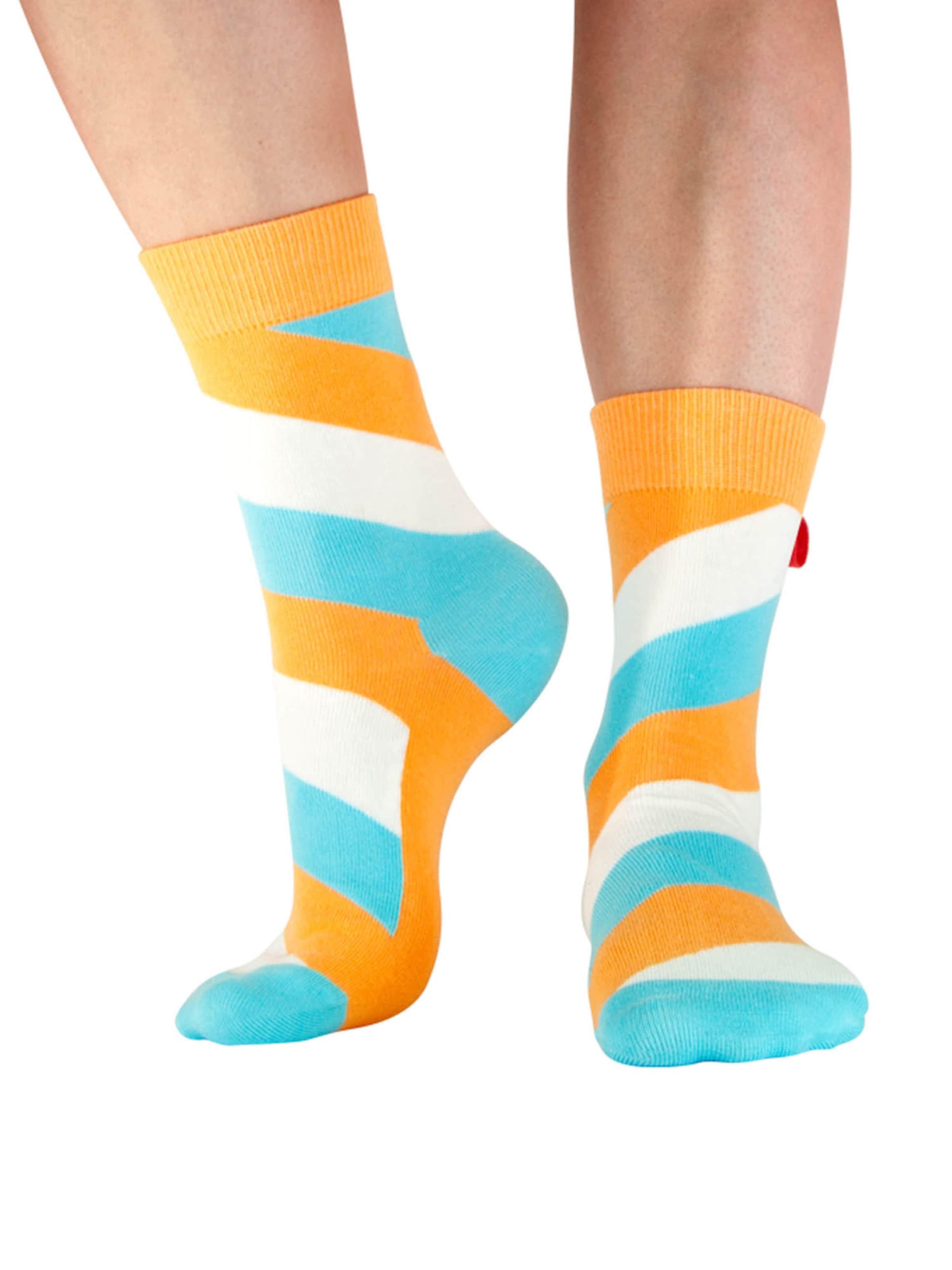 Tag SOCKS Socken 'Stars & Stripes' in hellblau / orange / weiß Jersey 13140