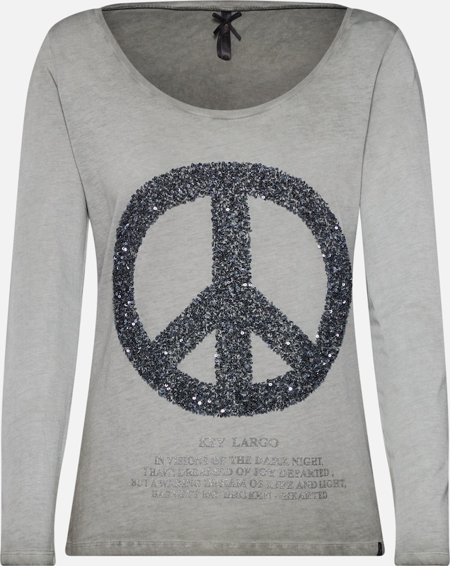 Key Largo Shirt 'PEACE' in khaki / schwarz, Produktansicht