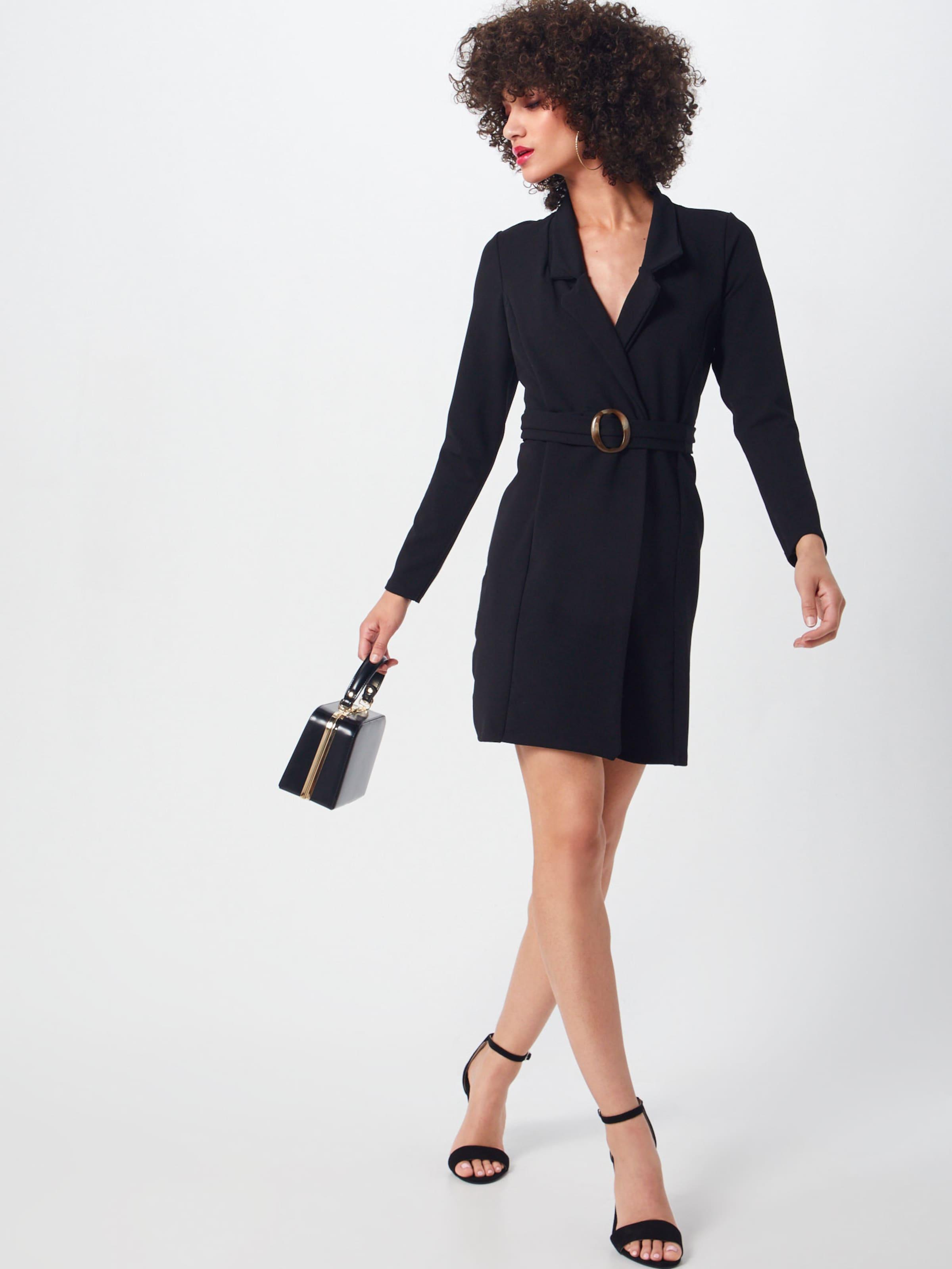 tortoise' Blazer Kleid Missguided Dress 'long Sleeve Belted In Schwarz lTJFuK1c3