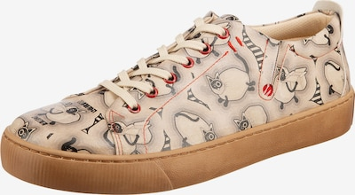 DOGO Sneaker in kitt / hellbeige / rot / schwarz, Produktansicht